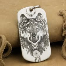 for 316l stainless steel high details laser engraved indian wolf dogtag mens biker pendant 9x111 at whole on crov com