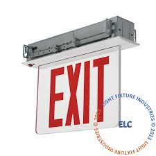 exit sign edge lit nyc 8 red led recess ceiling mount