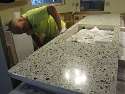 this countertop weighs about 250 pounds so installing it had to be done carefully to avoid injuring the people or the countertop