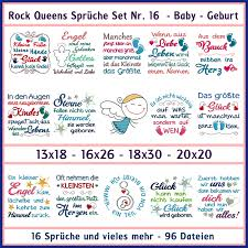 Rock Queens Sprüche Set Nr 16 Xxl Baby Geburt Rock Queen Stickdateien