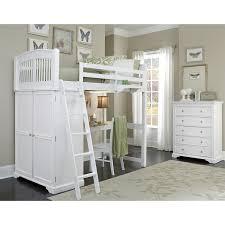 ne kids walnut street white locker loft bed with desk bed desk set