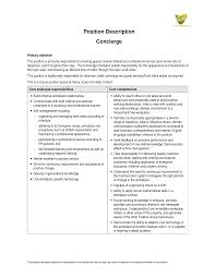 Pleasing Resume Description for Concierge About Concierge Job Description  Resume