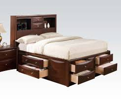 Swanky Drawers In Acme Q Manhattan Espresso Bookcase Queen Storage Bed in Queen  Bed With Storage