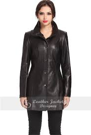 classic women leather black coat jacket front view