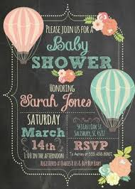 Up Up Away Hot Air Balloon Baby Shower Invitation Vintage Style Vintage Hot Air Balloon Baby Shower