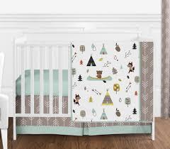 4 piece perless baby bedding blue grey girl boy outdoor adventure crib set