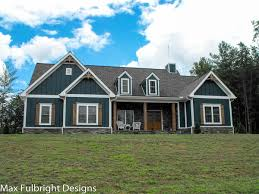 craftsman country farmhouse plan blue paint