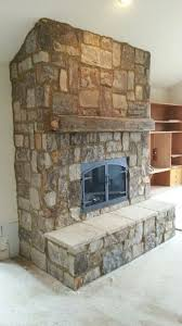 Natural Stone Fireplace Pleasing Brown Natural Stone Fireplace Ideas At Terrific Basement