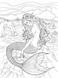 Mermaid Coloring Pages For Adults Swimming Mermaid Coloring Pages