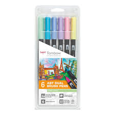 Tombow Dual Brush Pen Blank Color Chart Tombow Abt Dual 6 Brush Pen Sets