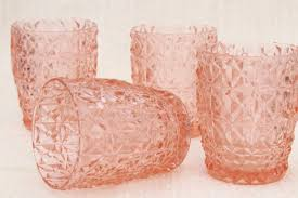 Pink Depression Glass Patterns Fascinating Jeannette Holiday Buttons And Bows Pattern Flat Tumblers Vintage