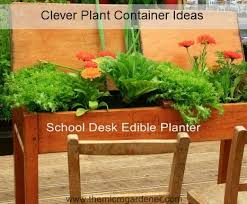 school desk edible planter just one of many clever plant container ideas