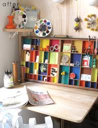 colorful home office. Colorful Home Office With A Nice Diy Cabinet