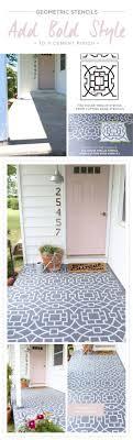 Cutting Edge Stencils shares a DIY stenciled concrete porch makeover using  the Tea House Trellis Allover