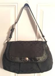 Coach F13739 Soho Pleated Signature Black Large Flap Hobo Shoulder Bag