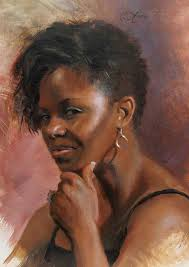 artist anna rose bain b oil on linen contemporary figurative art female head african american black woman face portrait painting