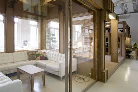 interior glass office doors. Extraordinary Interior Glass Doors For Contemporary House Completed With White Sectional Sofa In Tufted Design Furnished Office