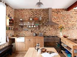 red brick kitchen red brick kitchen wall tiles contemporary kitchen in with brick walls and wooden workstation appealing colors red brick kitchen floor