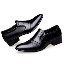 business men dress shoes slip on black pu leather shoes male pointed toe breathable formal wedding