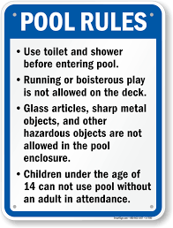 Rules Pool California Sku S-7593 Safety Sign