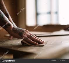 Ruce Tetování Pomocí Smirkového Papíru Dřevo Původní Sada Fotek