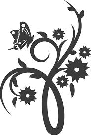 花のイラストフリー素材白黒モノクロno554白黒茎葉蝶カーブ