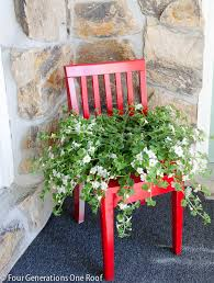 Red Chair Planter DIY by Four Generations One Roof