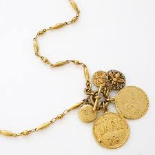 gold vine french charm necklace