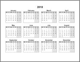 2010 Monthly Calendar Under Fontanacountryinn Com