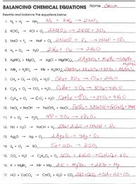 types of chemical reaction worksheet ch 7 name balance the 197490 balancing chemical equations worksheets with answers