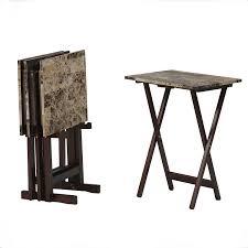 Decorative Tv Tray Tables Amazon Linon Home Decor Tray Table Set Faux Marble Brown 5