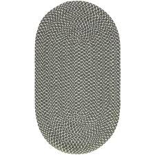 pewter cream oval eco braided rug