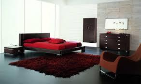 modern bedroom furniture. Contemporary Modern Bedroom Furniture Shiny Grey Marble Laminated Floor Nice Round Fur Rug White Hardwood Bedframe Espresso Dark Brown Varnish Stripes