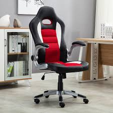 leather desk chair. Office Chair Ergonomic Computer PU Leather Desk Seat Race Car Bucket Style Red N