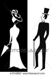 紳士 そして 女性 シルエット イラスト