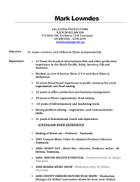 Film Industry Resume Resume For Study