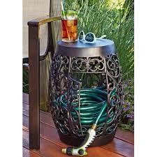 sunjoy decorative steel hose pot