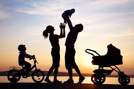 photo of family in the sunset.