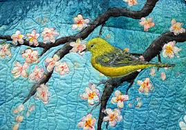 "Original art quilt hand painted silk ""Under the cherry Tree ... & My little appliquéd bird Adamdwight.com"