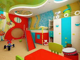 Nursery Room Ceiling Decor with Fish Wall Painting and Colorful for Baby