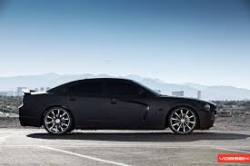 Dodge Charger Gets Matte Black Wrap and Vossen Wheels - autoevolution