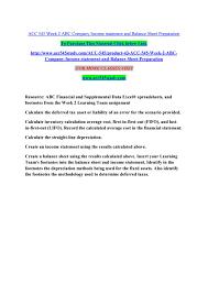 Acc 545 Week 2 Abc Company Income Statement And Balance