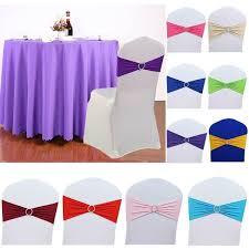 100PCS Spandex <b>Stretch</b> Wedding <b>Chair Cover</b> Sashes Bow Band ...
