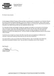 caroline altmann financial s business development recommendation letter of mr shlomi friedman global treasurer at discount bank