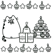 Pusheen The Cat Coloring Pages Free Books Within Christmas Page