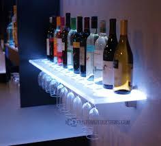 Floating Bar Shelves With Lights Led Wine Glass Rack Shelving In 2020 Glass Shelves