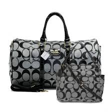 Coach Bleecker Monogram In Signature Large Grey Luggage Bags AFM+Medium Grey  Totes ANX