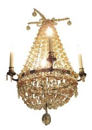 pink clear beaded glass four arm basket chandelier