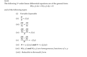 12 21 the following 1st order linear diffeial equations are of the general form