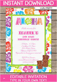 Party Template Editable Birthday Invitations Templates Free Best Of Luau Party
